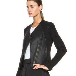 Helmut Lang Lamb Leather Asymmetrical Zip Jacket